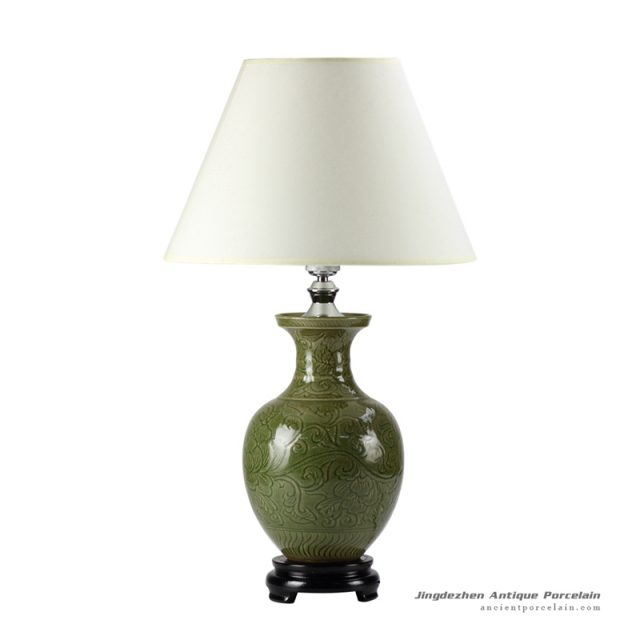 DS52-RZDF_Moss green glaze engraved floral branch pattern pottery beside table lamp