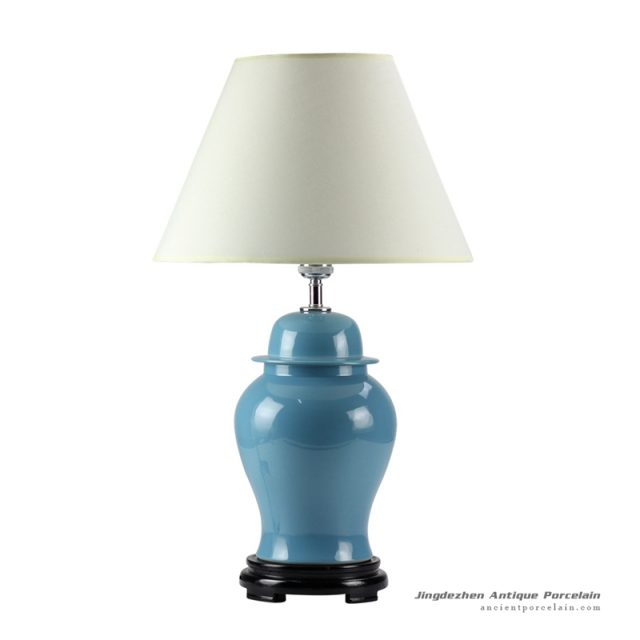 DS53-RYNQ_Aegean blue glaze ceramic modern table lamp