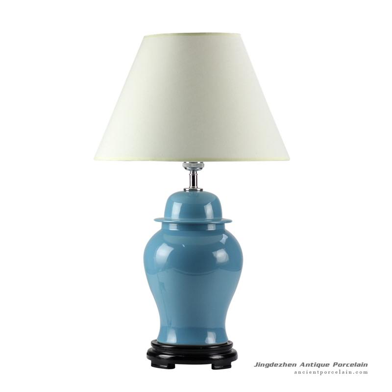 DS53-RYNQ_Aegean blue glaze ceramic modern table lamp