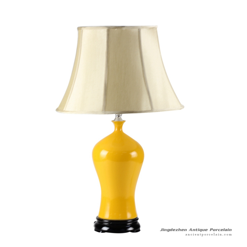 DS54-RYNQ_Orange yellow glaze Jingdezhen China produce ceramic table lamp