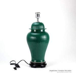 DS58-RYMA_Dark green bright surface bamboo style oriental jar lamp