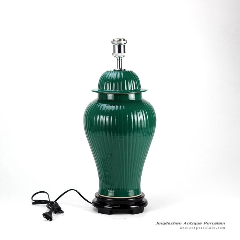DS58-RYMA_Dark green bright surface bamboo style oriental jar lamp