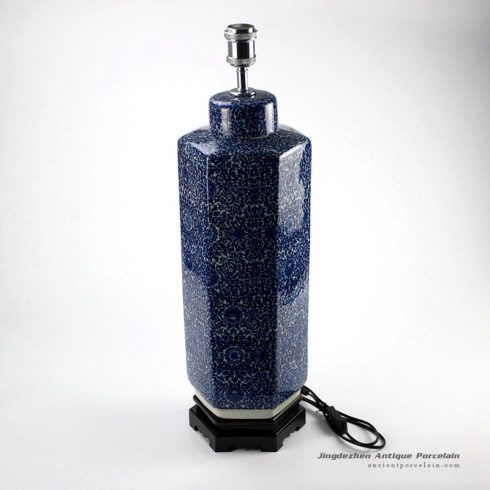 DS71-RYTM38_Hexagonal new design blue and white tin jar lamp