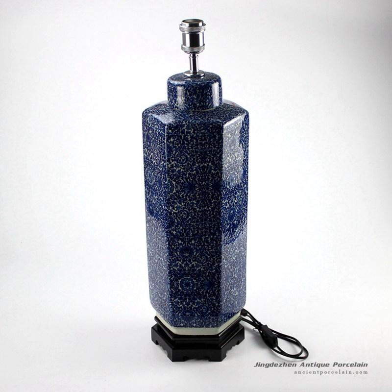DS71-RYTM38_Hexagonal new design blue and white tin jar lamp