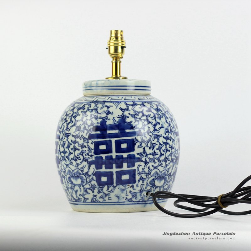 DS80-RZFZ01-F_double hanppiness pattern blue and white desk lamp