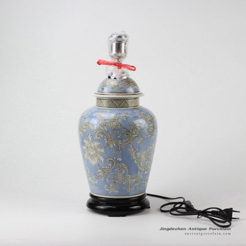 DS83-RYPU35_Online sale exotic light blue floral pattern ceramic table lamp