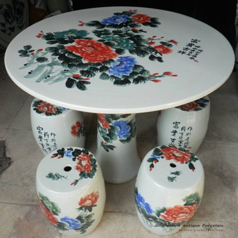 RYAY20_Chinese peony ceramic garden table stool