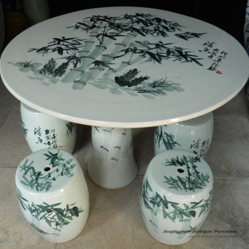 RYAY22_Chinese bamboo ceramic garden table set