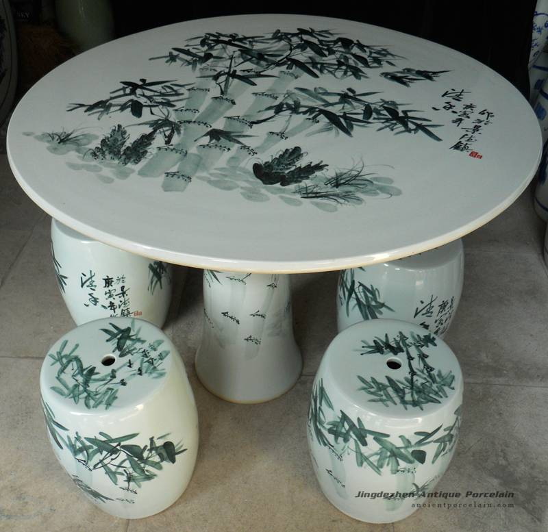 Ryay22 Chinese Bamboo Ceramic Garden Table Set Chinese