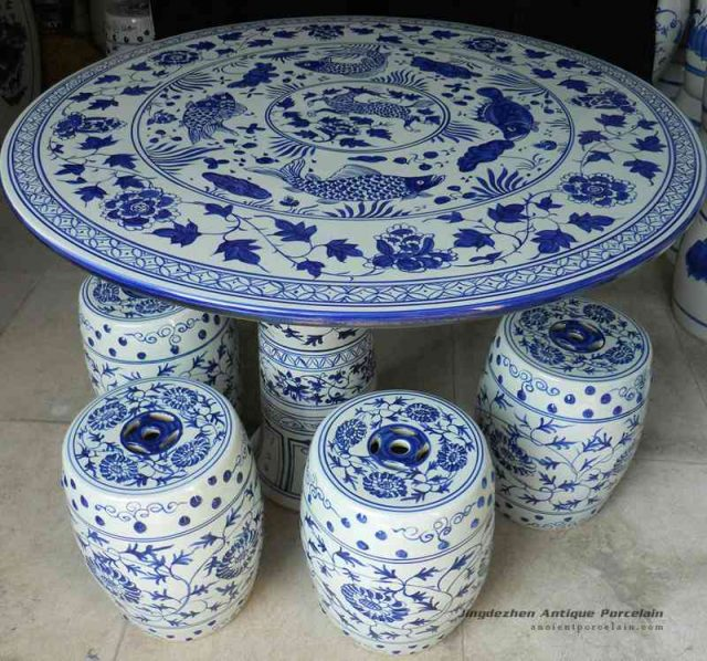 RYAY24_blue and white chinese porcelain garden table stool