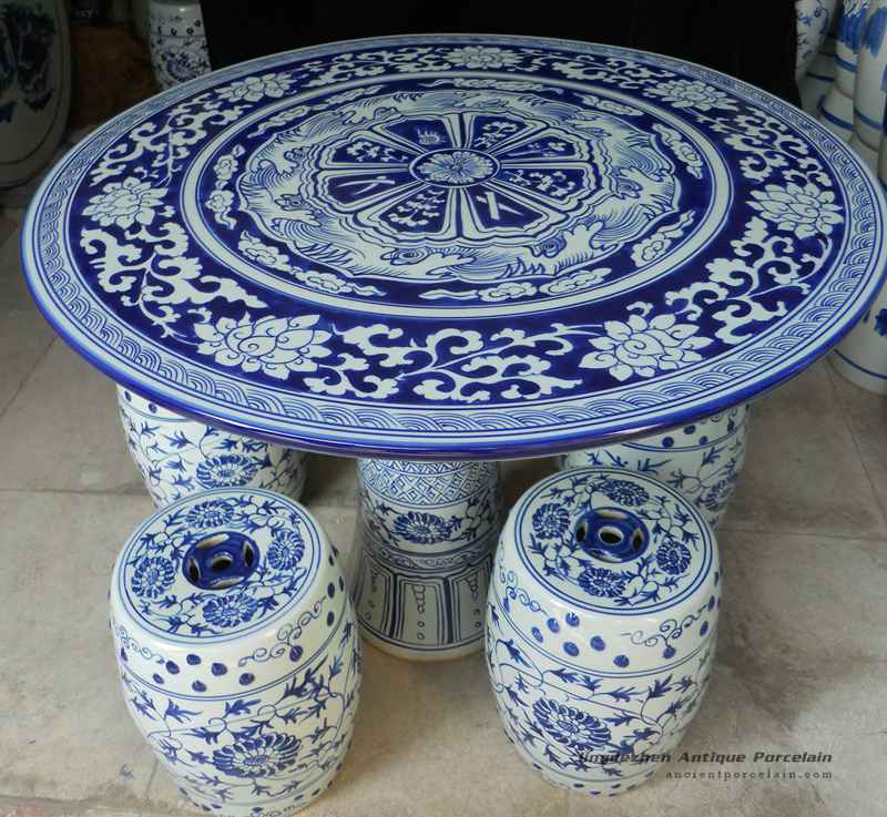 RYAY25_blue And White Porcelain Garden Table And Stool