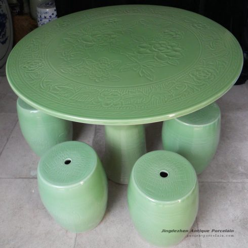 RYAY26_china green ceramic garden table stool