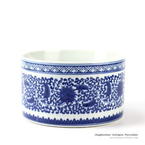 RYCI36_Hand paint blue and white floral mark round ceramic pot