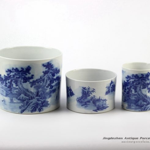 RYCI38_Chinese ancient house and pine tree pattern blue and white pot
