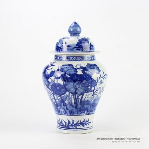 RYCI39_Blue and white hand paint bird and lotus leaf pattern ceramic temple jar