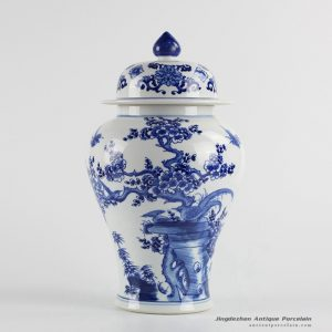 RYCI40_Bird cherry blossom pattern manual work ceramic ginger jar for exhibition room