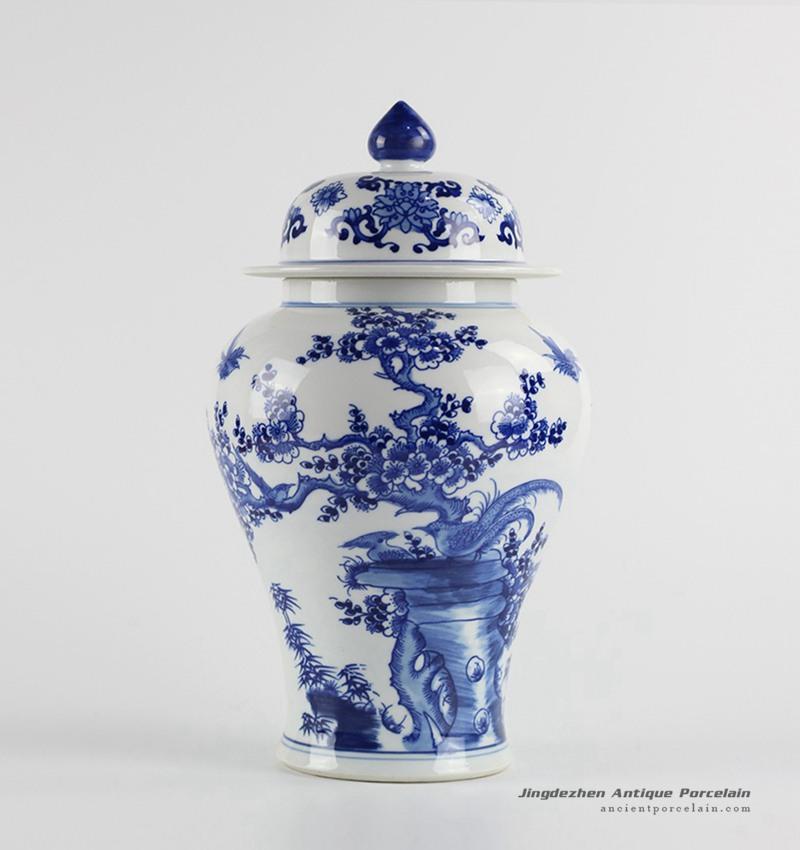 RYCI40_Bird cherry blossom pattern manual work ceramic ginger jar for exhibition room