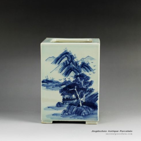 RYCZ09_Blue and white hand painted landscape square ceramic pen holder