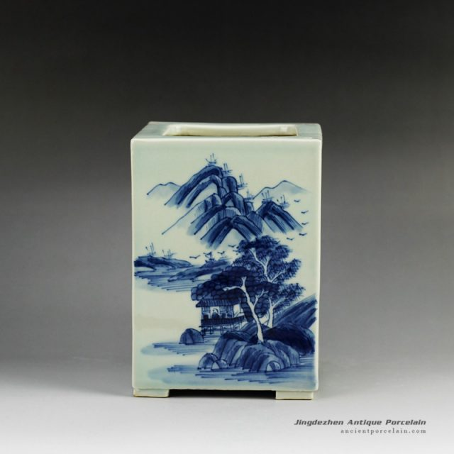 RYCZ09_Blue and white hand painted landscape square ceramic pen holder