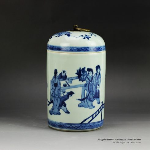 RYCZ10_vintage blue and white tin jar