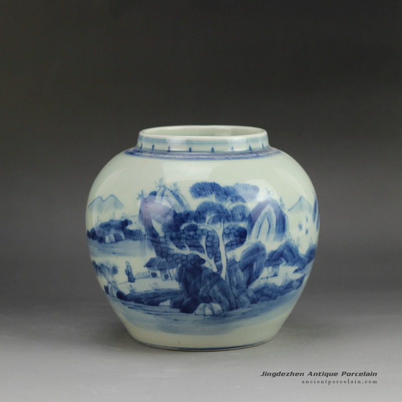 RYCZ11_Hand painted landscape small blue and white urn