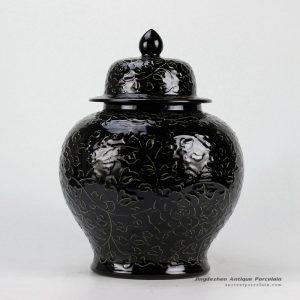 RYDB37-C_Black Engraved Flower Ginger Jar