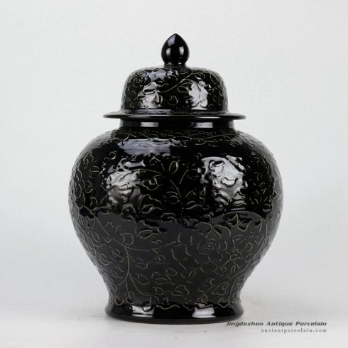 RYDB37-C_Black Engraved Flower Ginger Jar