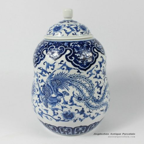 RYDE74_hand painted blue white floral phoenix porcelain Tea Jar