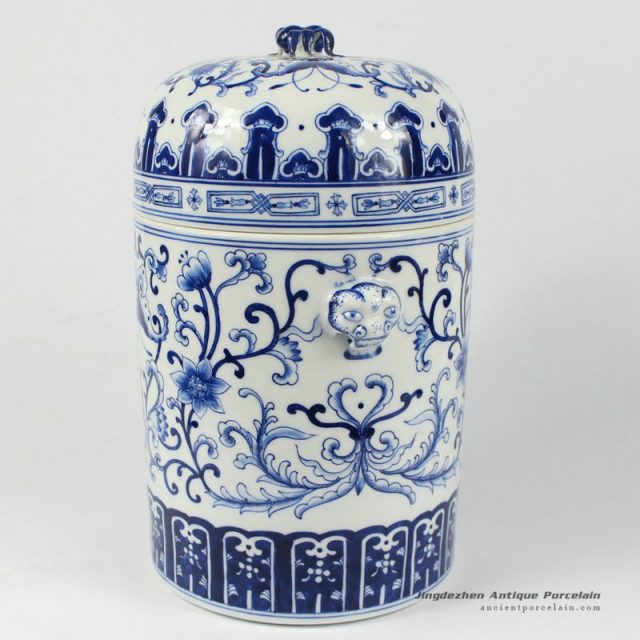 RYDE75_11.4″ hand painted blue white floral butterfly Tea Jar