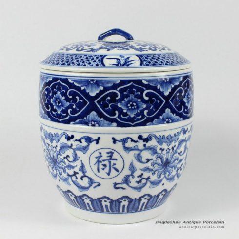 RYDE76_8.3″ blue white hand painted floral Tea Jar