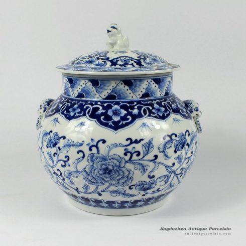 RYDE77_9.8″ blue white hand painted floral Tea Jar