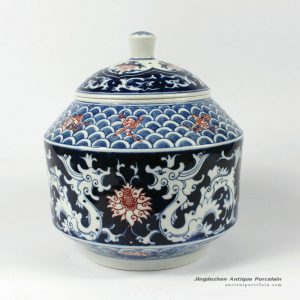 RYDE78_8.6″ Jingdezhen hand painted blue white floral Tea Jar