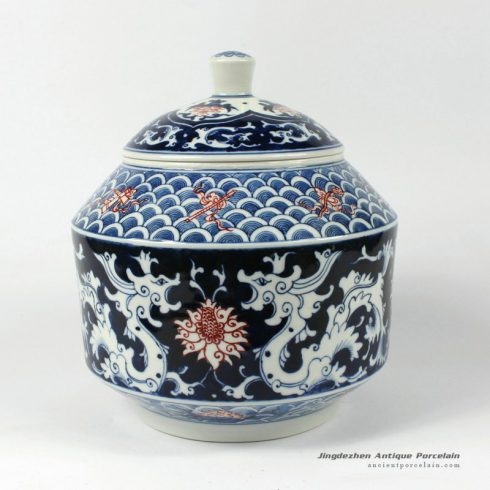 RYDE78_8.6″ Jingdezhen hand painted blue white floral Tea Jar