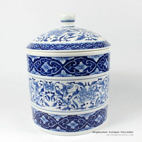 RYDE79_11.4″ Jingdezhen hand painted blue white floral butterfly Tea Jar