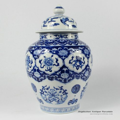 RYDE80_13″ Jingdezhen hand painted blue white floral Tea Jar