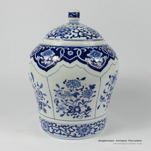 RYDE81_10.6″ Jingdezhen hand made blue white Porcelain Tea Jar
