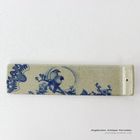 RYEJ18-D_Crude clay blue and white bird moon floral pattern pottery tile incense stick holder
