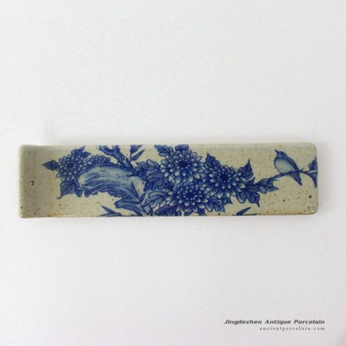 RYEJ18-A_Stoneware blue white chrysanthemum bird pattern clay style incense burner