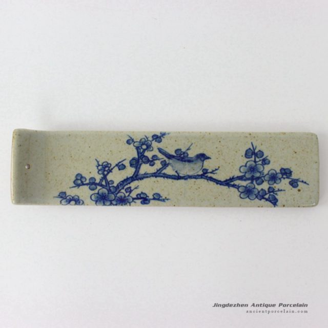 RYEJ18-B_New arrival hot selling item blue white plum blossom bird mark earthen ware strip shape incenser