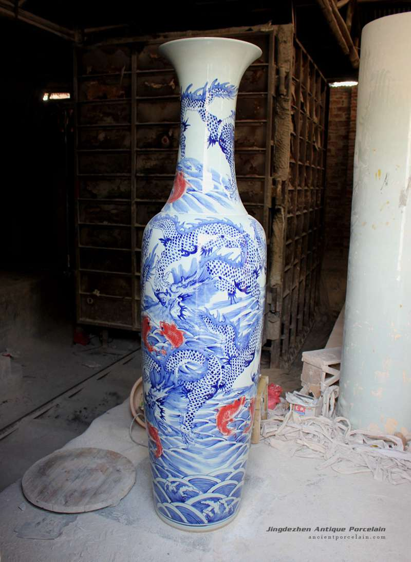 RYFJ09_Big Blue and White Dragon and Fish Design Porcelain Vase