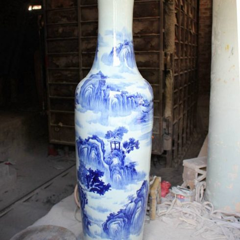 RYFJ10_Blue and White Large Porcelain Floor Vase