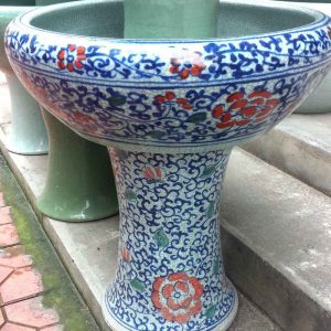 RYHD24-B_Colorful blue and white crackled style large ceramic planter and bowl with pedestal