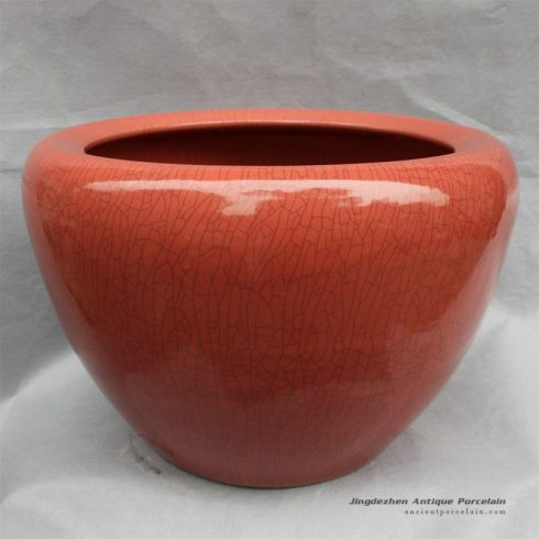 RYHD26_20″ Crackle glazed ceramic planters Red