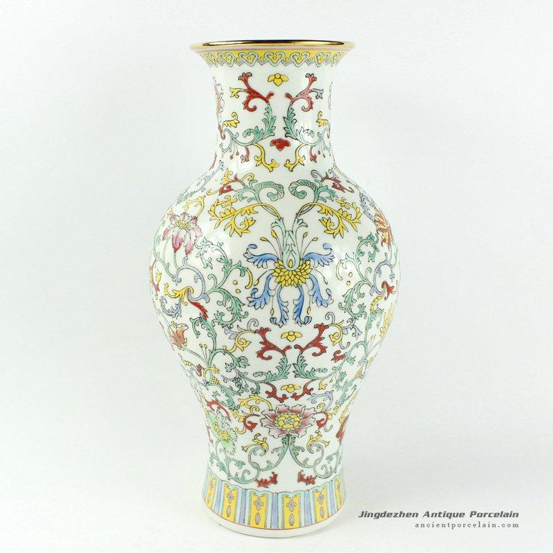 RYHH26_H15.3″ White Floral hand painted jingdezhen porcelain sales vases