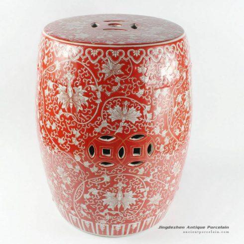 RYHH32_H17″ Red floral ceramic garden seat