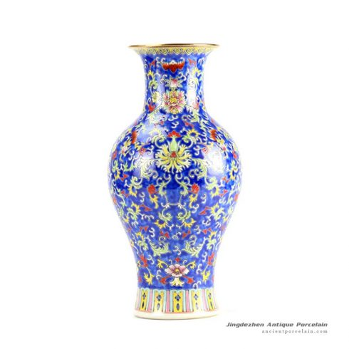 RYHH38_H14″ Porcelain Blue Famille rose Flower Vase