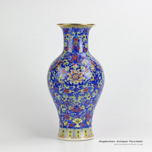 RYHH39_Famille rose gold rim Qing Dynasty style ceramic decorative vase