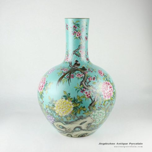 RYHV33_H21.6″ Hand made needle painted Porcelain Vase