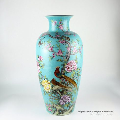 RYHV34_24.4″ Jingdezhen high quality hand painted blue needle painting floral bird vases