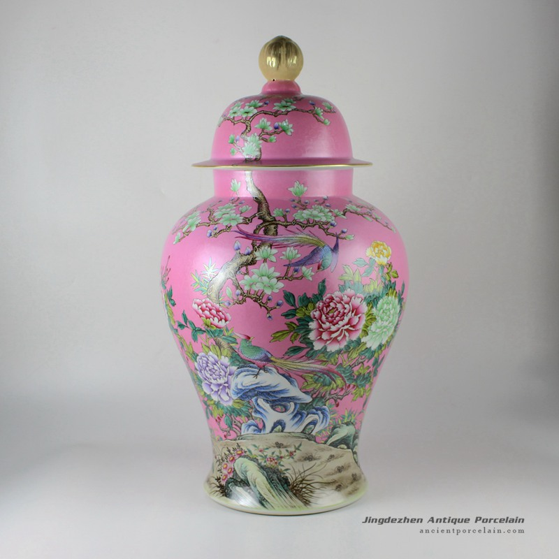 RYHV35_22.4″ Jingdezhen high quality hand painted pink needle painting floral bird ginger jar